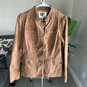 KUT Designer Brown Military Jacket Size Large